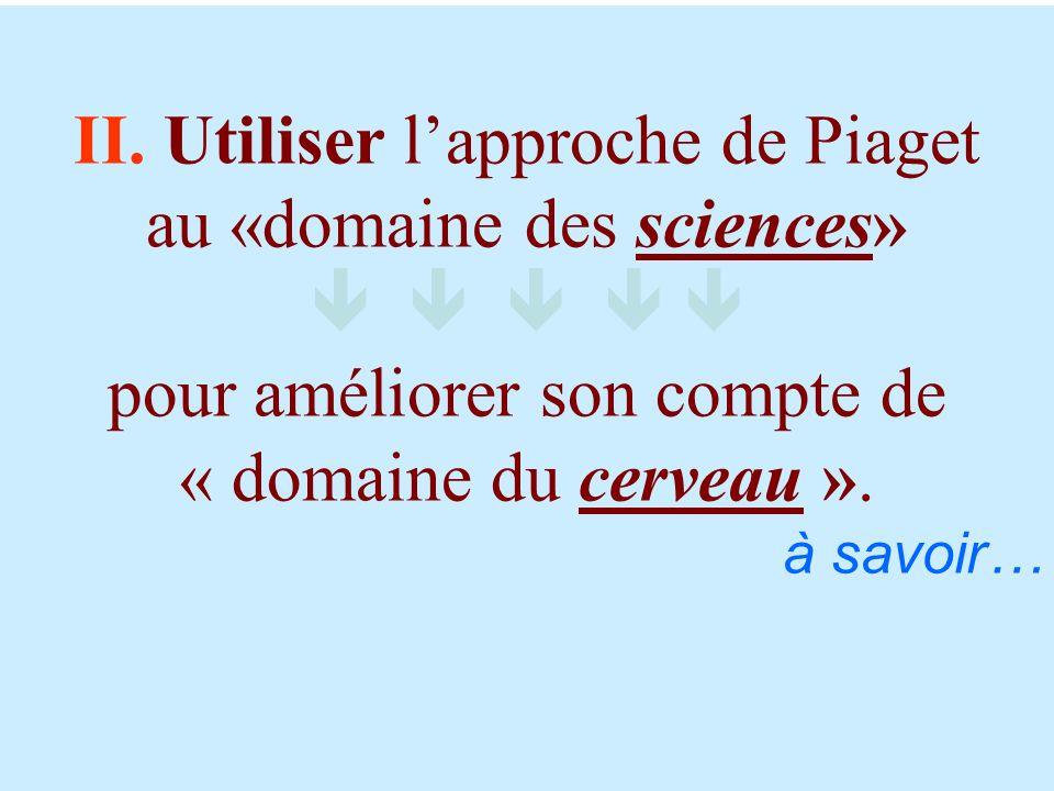 II. Utiliser lapproche de Piaget au «domaine des sciences» pour améliorer son compte de « domaine du cerveau ». à savoir…