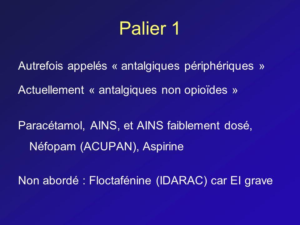 Palier 1 Autrefois appelés « antalgiques périphériques » Actuellement « antalgiques non opioïdes » Paracétamol, AINS, et AINS faiblement dosé, Néfopam