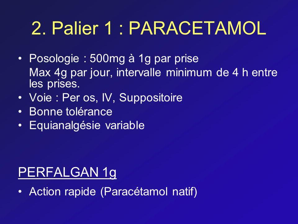 2. Palier 1 : PARACETAMOL Posologie : 500mg à 1g par prise Max 4g par jour, intervalle minimum de 4 h entre les prises. Voie : Per os, IV, Suppositoir