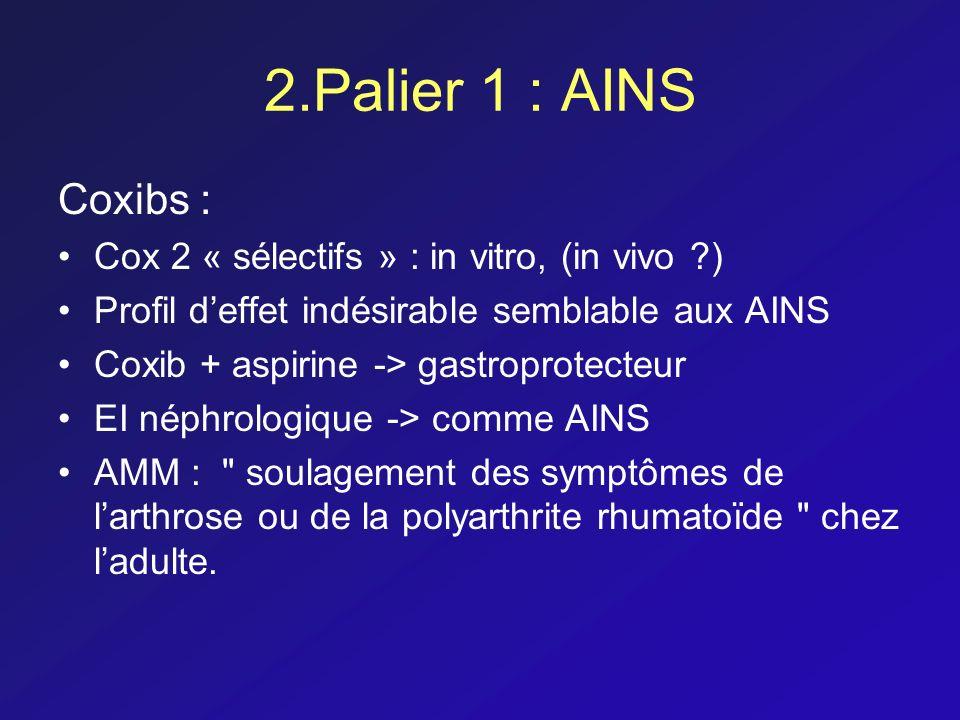 2.Palier 1 : AINS Coxibs : Cox 2 « sélectifs » : in vitro, (in vivo ?) Profil deffet indésirable semblable aux AINS Coxib + aspirine -> gastroprotecte
