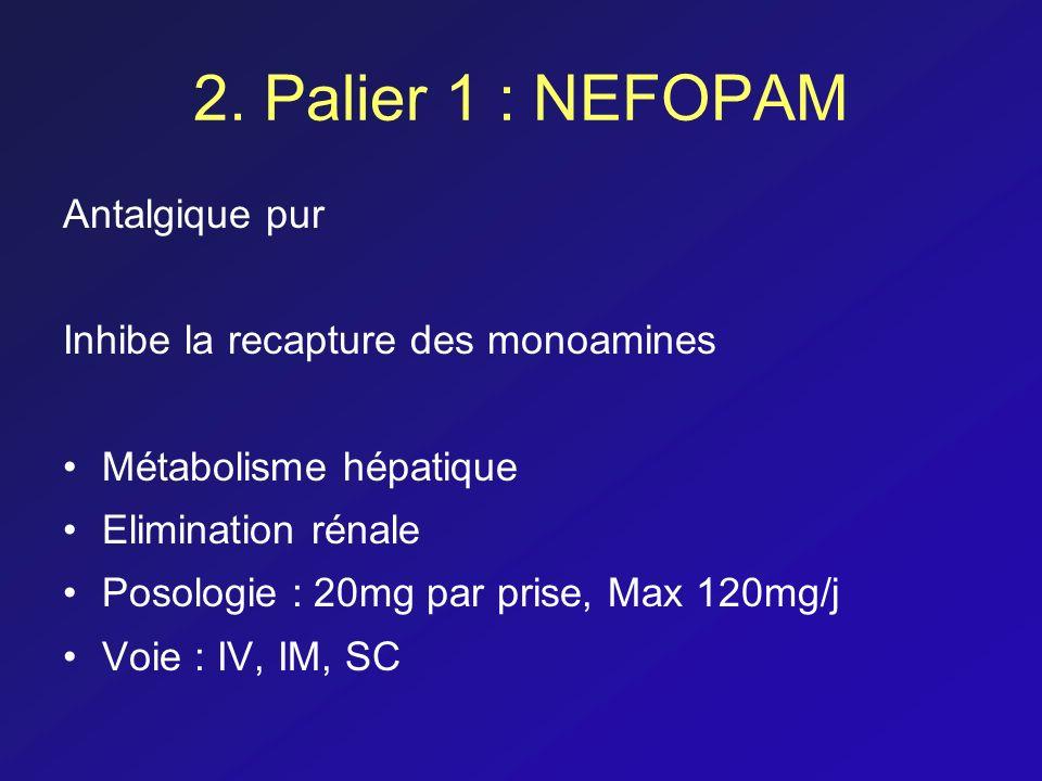 2. Palier 1 : NEFOPAM Antalgique pur Inhibe la recapture des monoamines Métabolisme hépatique Elimination rénale Posologie : 20mg par prise, Max 120mg