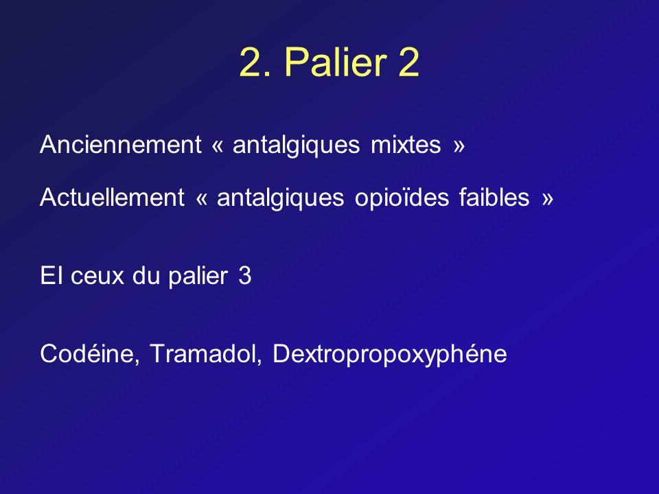 2. Palier 2 Anciennement « antalgiques mixtes » Actuellement « antalgiques opioïdes faibles » EI ceux du palier 3 Codéine, Tramadol, Dextropropoxyphén