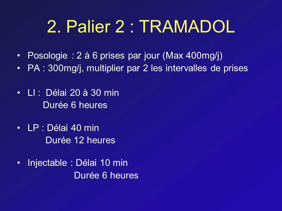 2. Palier 2 : TRAMADOL Posologie : 2 à 6 prises par jour (Max 400mg/j) PA : 300mg/j, multiplier par 2 les intervalles de prises LI : Délai 20 à 30 min