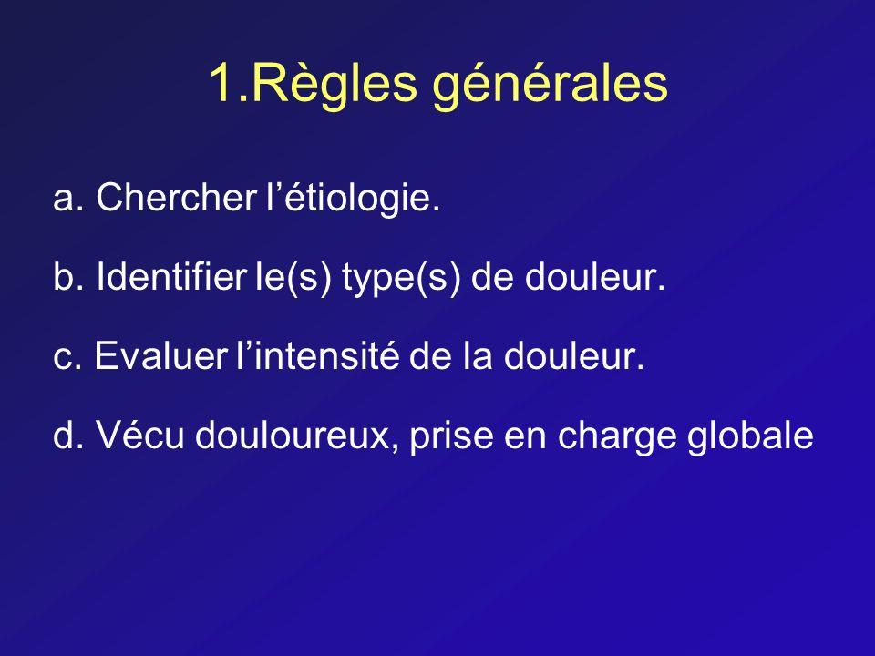 1.Règles générales a. Chercher létiologie. b. Identifier le(s) type(s) de douleur. c. Evaluer lintensité de la douleur. d. Vécu douloureux, prise en c