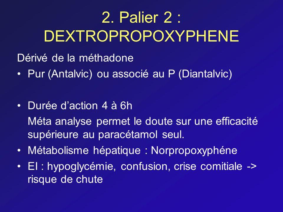 2. Palier 2 : DEXTROPROPOXYPHENE Dérivé de la méthadone Pur (Antalvic) ou associé au P (Diantalvic) Durée daction 4 à 6h Méta analyse permet le doute