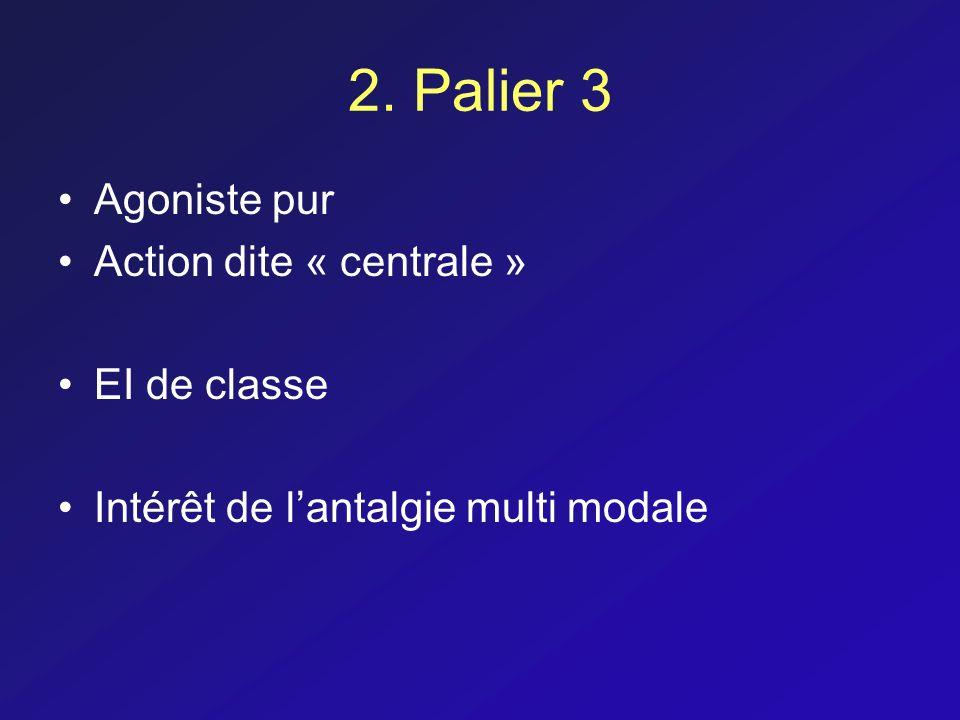 2. Palier 3 Agoniste pur Action dite « centrale » EI de classe Intérêt de lantalgie multi modale
