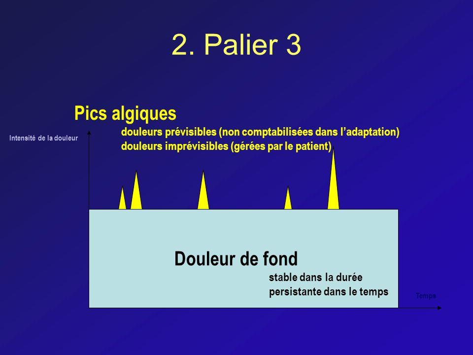 2. Palier 3 Intensité de la douleur Temps Douleur de fond stable dans la durée persistante dans le temps Pics algiques douleurs prévisibles (non compt