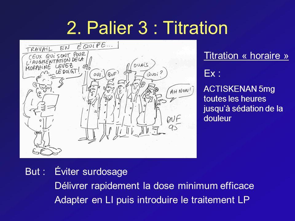 2. Palier 3 : Titration But : Éviter surdosage Délivrer rapidement la dose minimum efficace Adapter en LI puis introduire le traitement LP Titration «