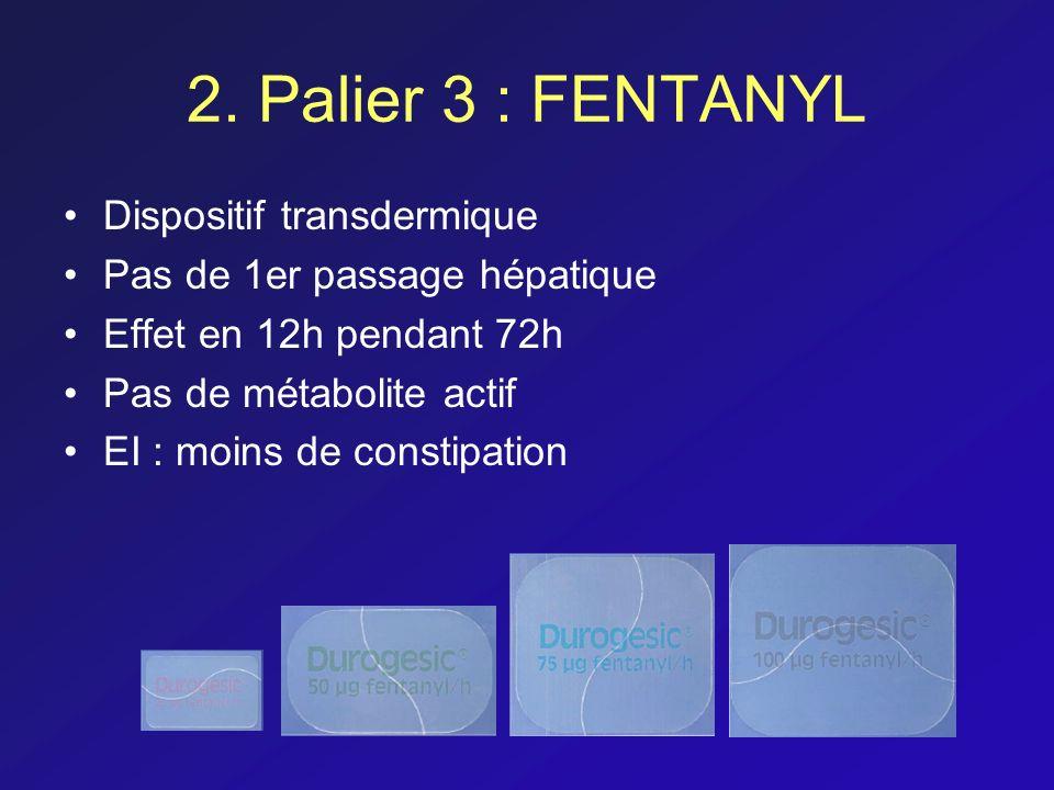 2. Palier 3 : FENTANYL Dispositif transdermique Pas de 1er passage hépatique Effet en 12h pendant 72h Pas de métabolite actif EI : moins de constipati