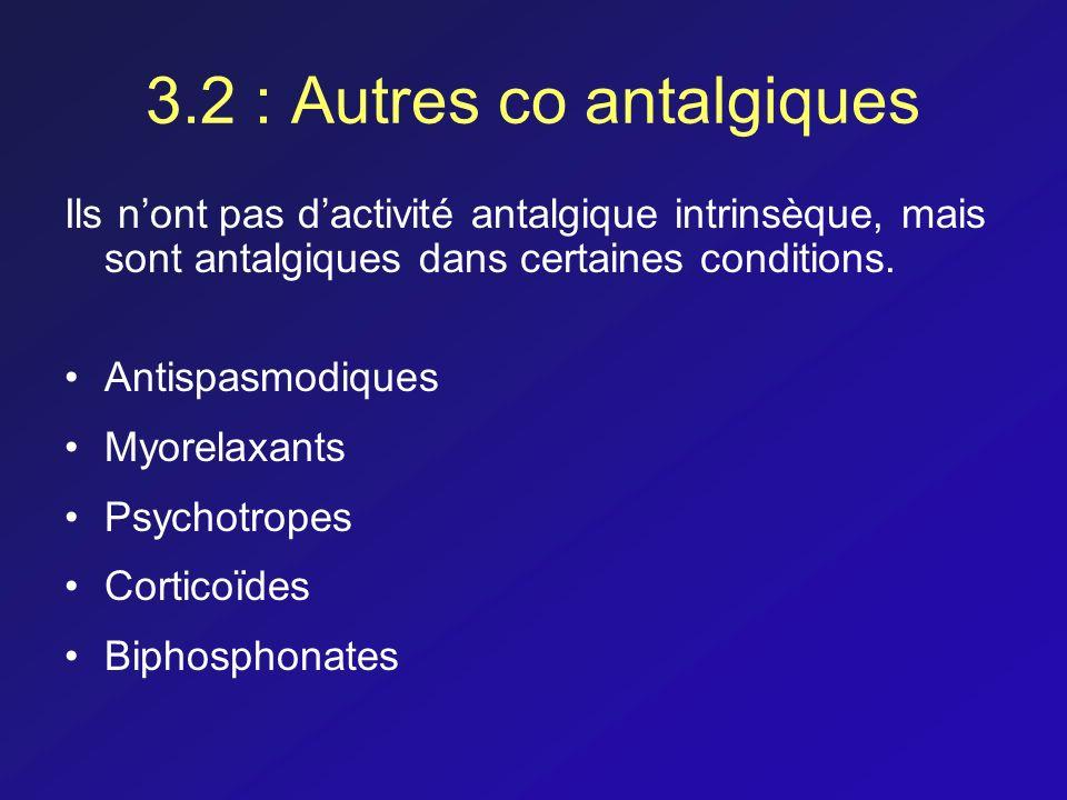 3.2 : Autres co antalgiques Ils nont pas dactivité antalgique intrinsèque, mais sont antalgiques dans certaines conditions. Antispasmodiques Myorelaxa