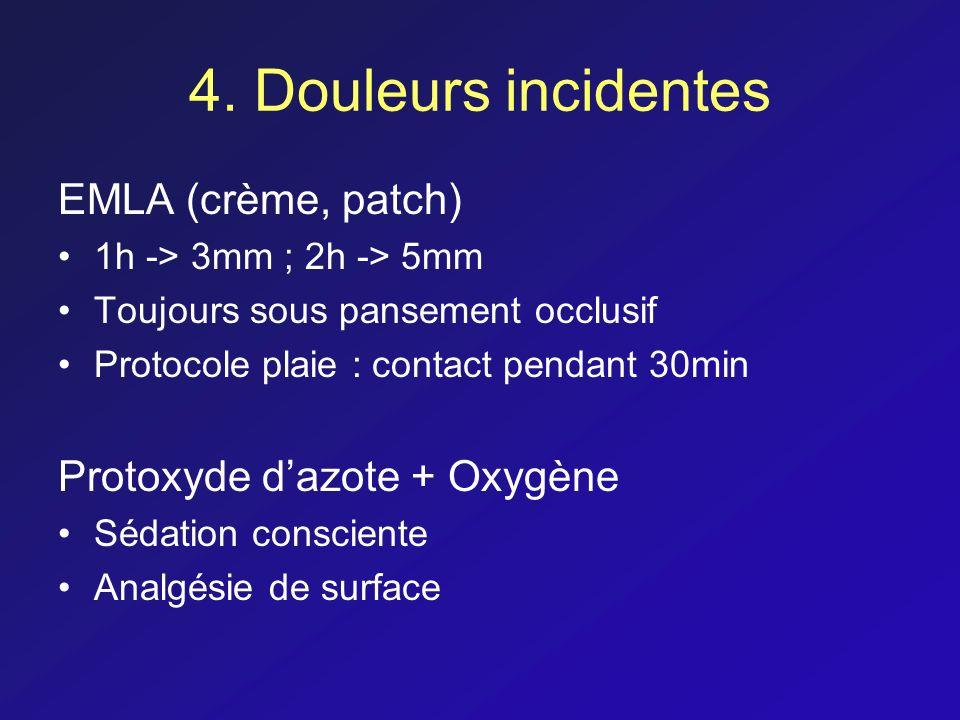 4. Douleurs incidentes EMLA (crème, patch) 1h -> 3mm ; 2h -> 5mm Toujours sous pansement occlusif Protocole plaie : contact pendant 30min Protoxyde da