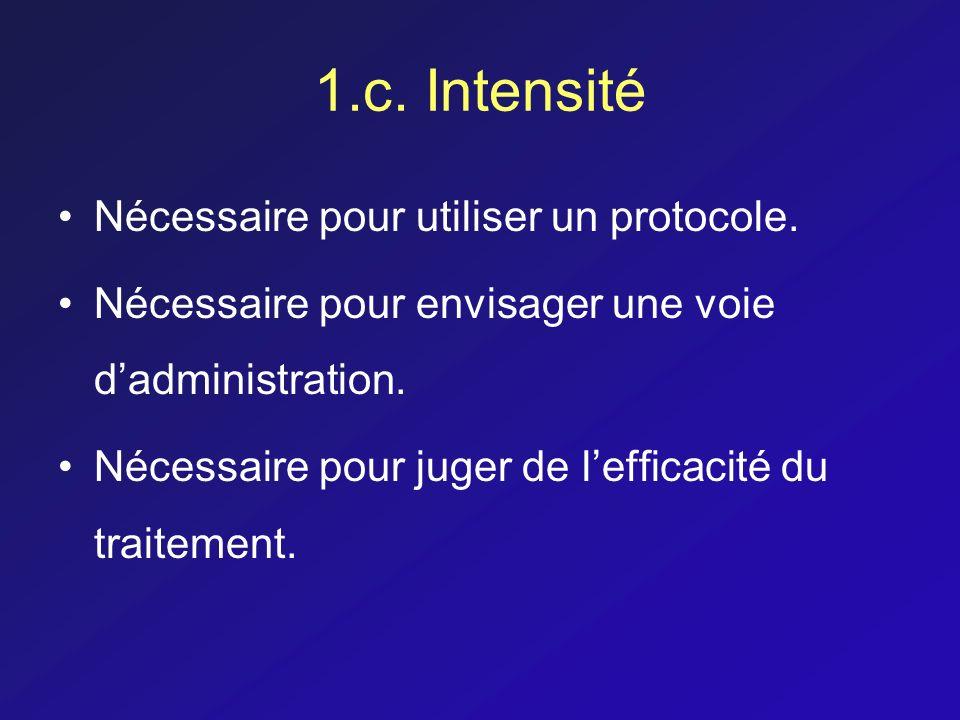 1.c. Intensité Nécessaire pour utiliser un protocole. Nécessaire pour envisager une voie dadministration. Nécessaire pour juger de lefficacité du trai