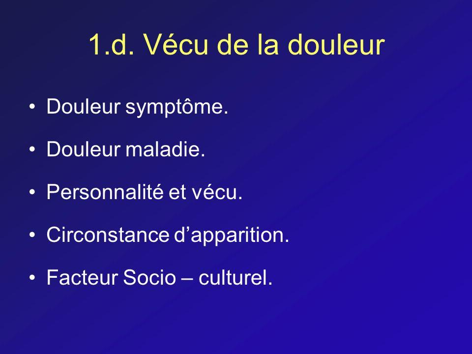 1.d. Vécu de la douleur Douleur symptôme. Douleur maladie. Personnalité et vécu. Circonstance dapparition. Facteur Socio – culturel.