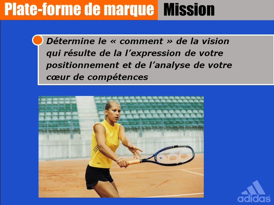 Détermine le « comment » de la vision qui résulte de la lexpression de votre positionnement et de lanalyse de votre cœur de compétences Mission Plate-
