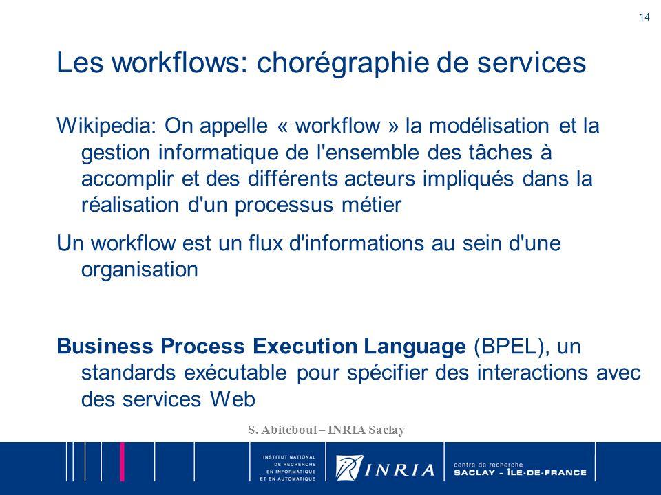 14 S. Abiteboul – INRIA Saclay Les workflows: chorégraphie de services Wikipedia: On appelle « workflow » la modélisation et la gestion informatique d