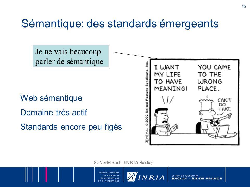 15 S. Abiteboul – INRIA Saclay Sémantique: des standards émergeants Web sémantique Domaine très actif Standards encore peu figés Je ne vais beaucoup p