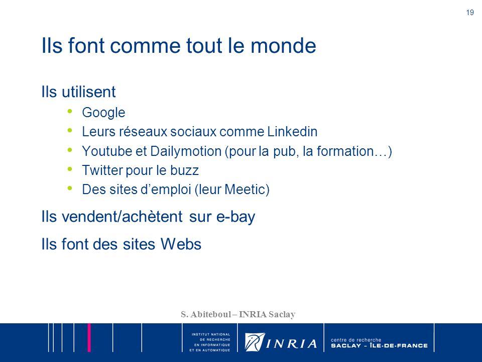 19 S. Abiteboul – INRIA Saclay Ils font comme tout le monde Ils utilisent Google Leurs réseaux sociaux comme Linkedin Youtube et Dailymotion (pour la
