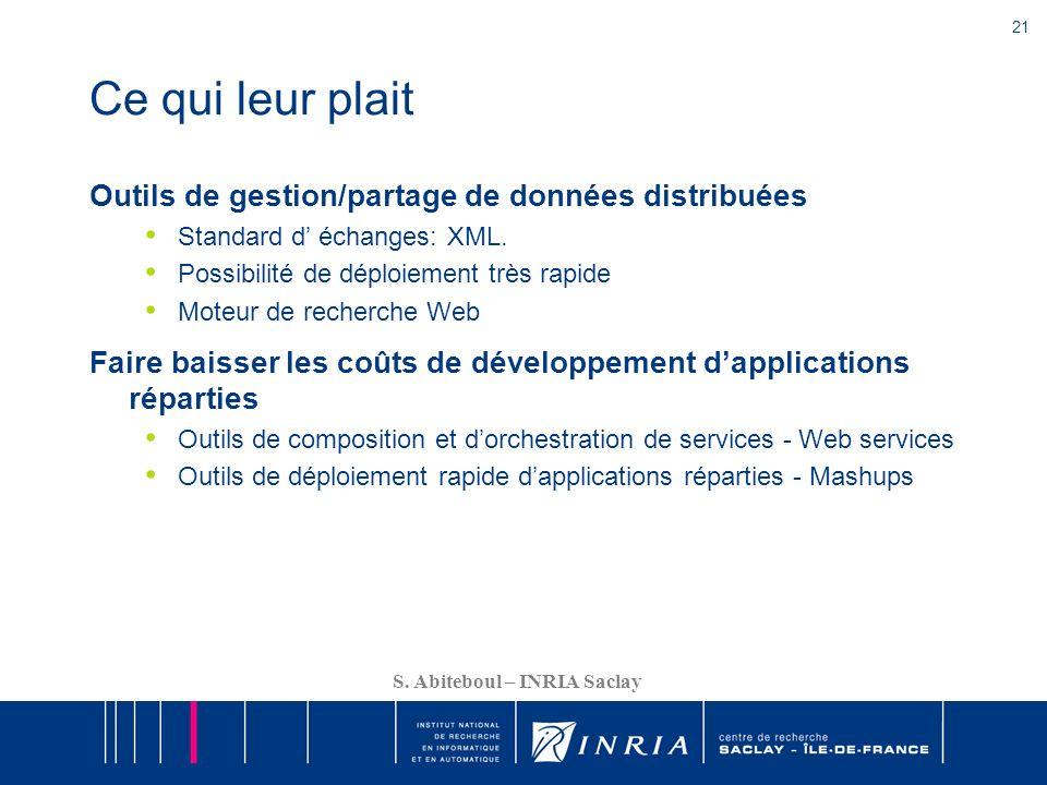 21 S. Abiteboul – INRIA Saclay Ce qui leur plait Outils de gestion/partage de données distribuées Standard d échanges: XML. Possibilité de déploiement