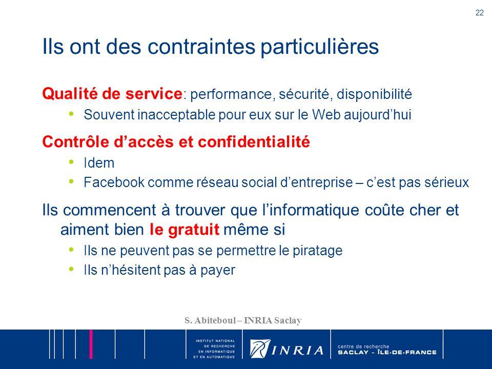 22 S. Abiteboul – INRIA Saclay Ils ont des contraintes particulières Qualité de service : performance, sécurité, disponibilité Souvent inacceptable po