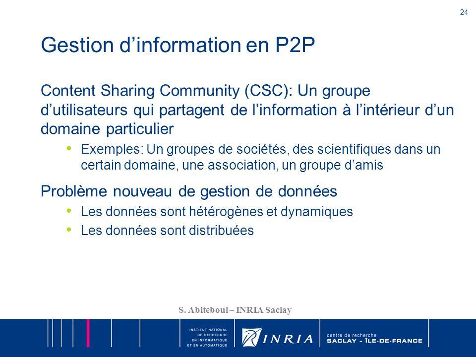 24 S. Abiteboul – INRIA Saclay Gestion dinformation en P2P Content Sharing Community (CSC): Un groupe dutilisateurs qui partagent de linformation à li