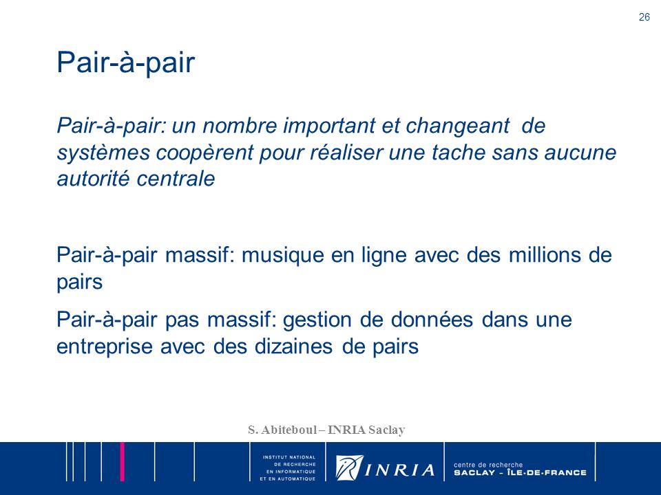 26 S. Abiteboul – INRIA Saclay Pair-à-pair Pair-à-pair: un nombre important et changeant de systèmes coopèrent pour réaliser une tache sans aucune aut