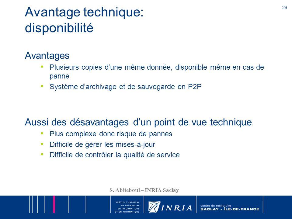 29 S. Abiteboul – INRIA Saclay Avantage technique: disponibilité Avantages Plusieurs copies dune même donnée, disponible même en cas de panne Système