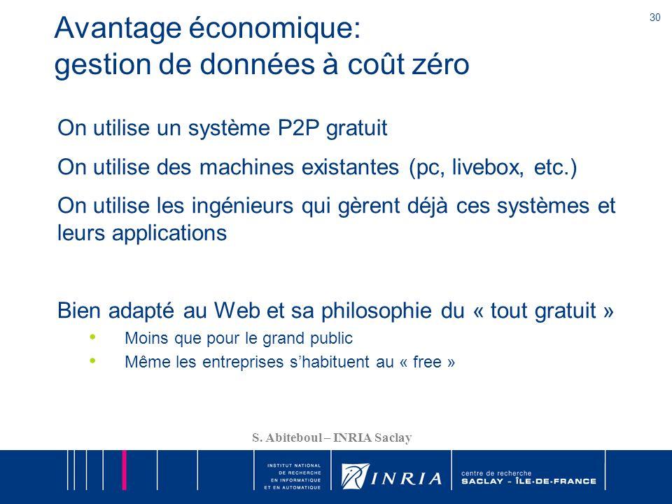 30 S. Abiteboul – INRIA Saclay Avantage économique: gestion de données à coût zéro On utilise un système P2P gratuit On utilise des machines existante