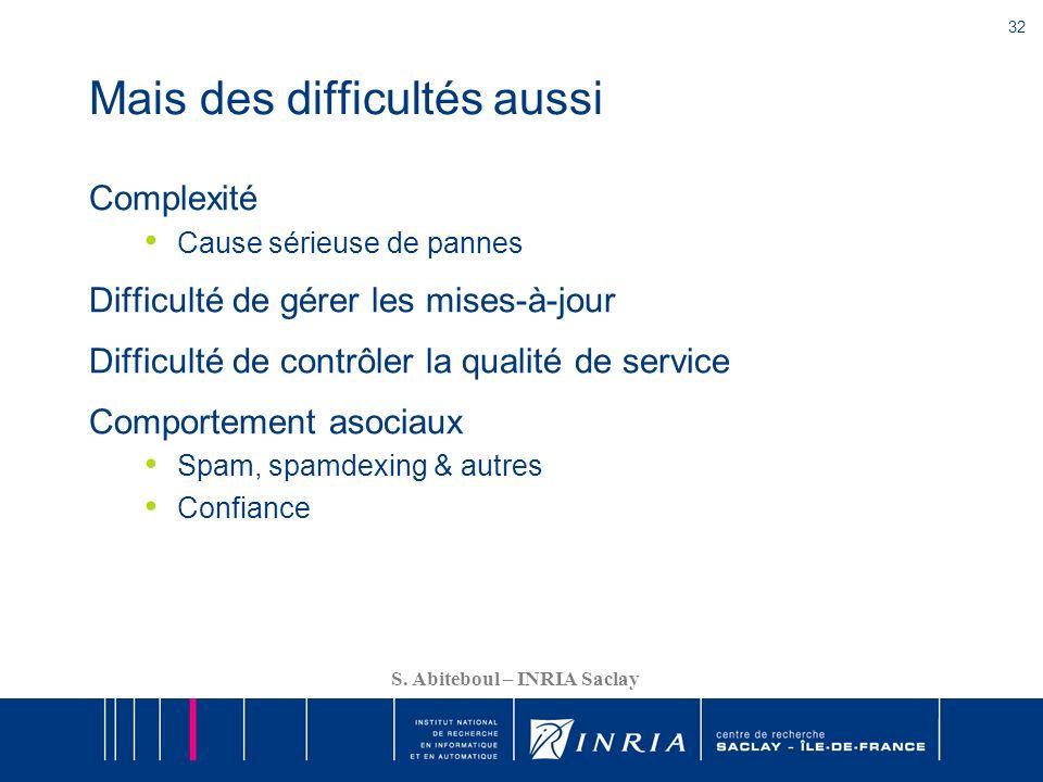 32 S. Abiteboul – INRIA Saclay Mais des difficultés aussi Complexité Cause sérieuse de pannes Difficulté de gérer les mises-à-jour Difficulté de contr