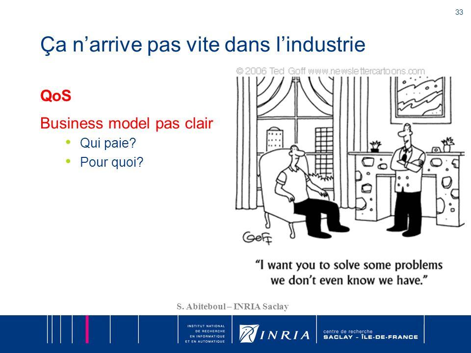33 S. Abiteboul – INRIA Saclay Ça narrive pas vite dans lindustrie QoS Business model pas clair Qui paie? Pour quoi?