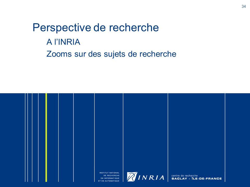 34 Perspective de recherche A lINRIA Zooms sur des sujets de recherche