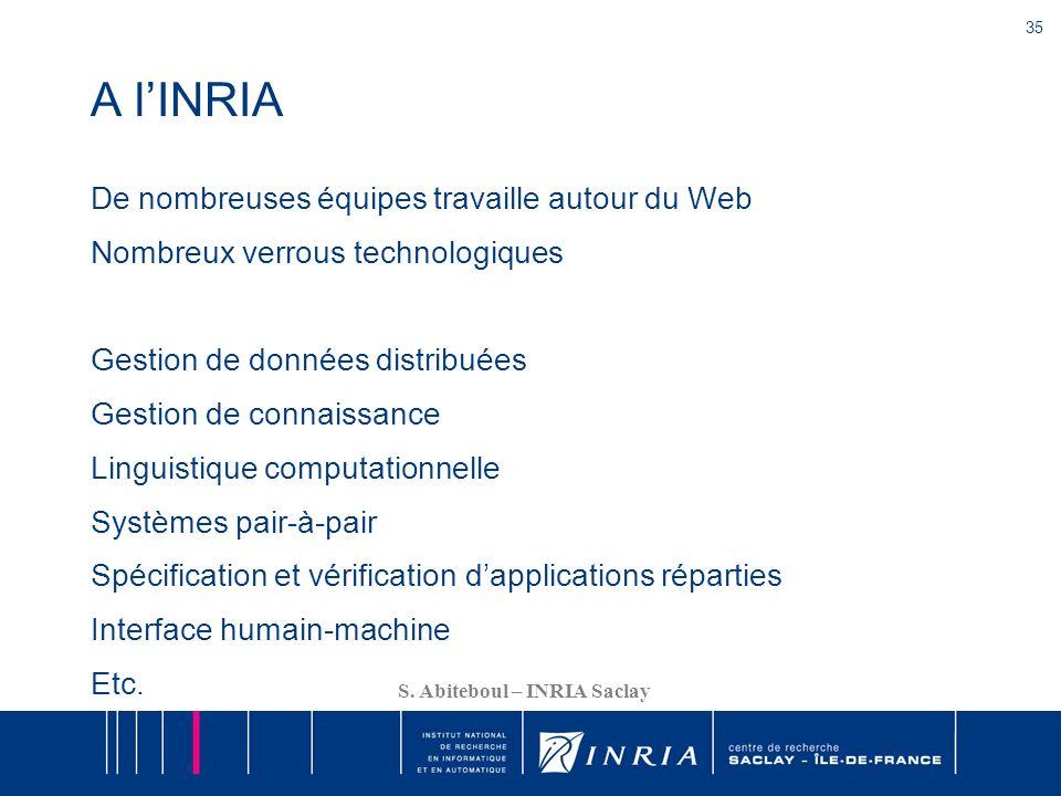 35 S. Abiteboul – INRIA Saclay A lINRIA De nombreuses équipes travaille autour du Web Nombreux verrous technologiques Gestion de données distribuées G