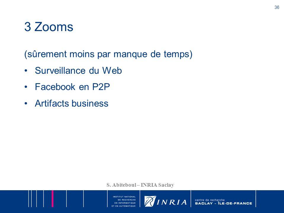 36 S. Abiteboul – INRIA Saclay 3 Zooms (sûrement moins par manque de temps) Surveillance du Web Facebook en P2P Artifacts business