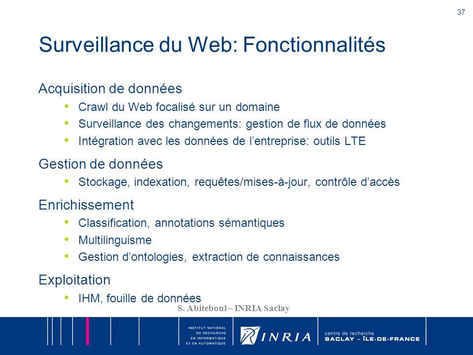 37 S. Abiteboul – INRIA Saclay Surveillance du Web: Fonctionnalités Acquisition de données Crawl du Web focalisé sur un domaine Surveillance des chang