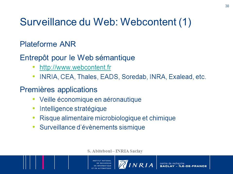 38 S. Abiteboul – INRIA Saclay Surveillance du Web: Webcontent (1) Plateforme ANR Entrepôt pour le Web sémantique http://www.webcontent.fr INRIA, CEA,