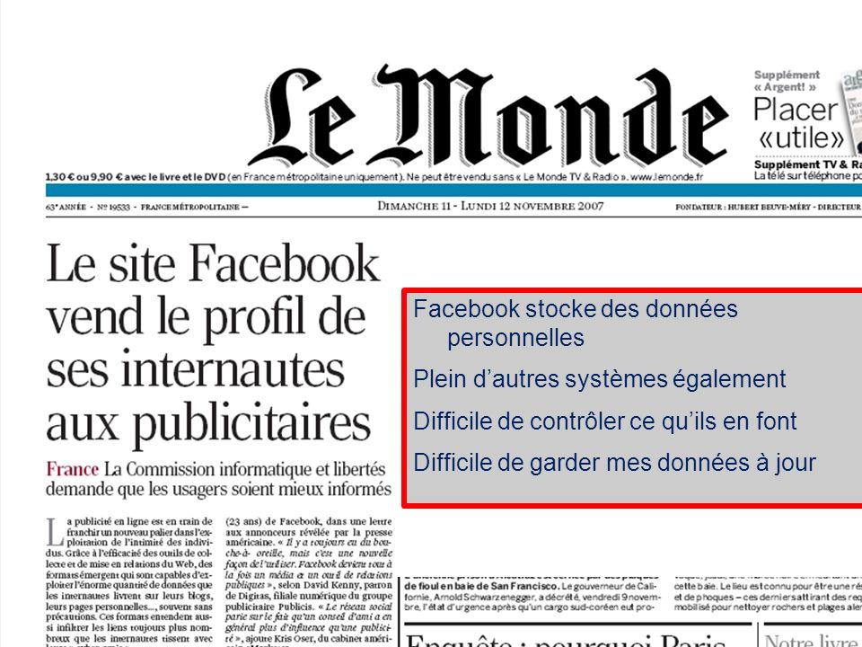 40 S. Abiteboul – INRIA Saclay Facebook stocke des données personnelles Plein dautres systèmes également Difficile de contrôler ce quils en font Diffi