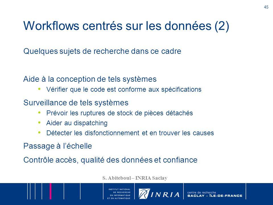 45 S. Abiteboul – INRIA Saclay Workflows centrés sur les données (2) Quelques sujets de recherche dans ce cadre Aide à la conception de tels systèmes
