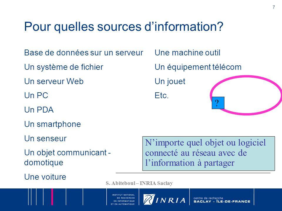 7 S. Abiteboul – INRIA Saclay Pour quelles sources dinformation? Base de données sur un serveur Un système de fichier Un serveur Web Un PC Un PDA Un s