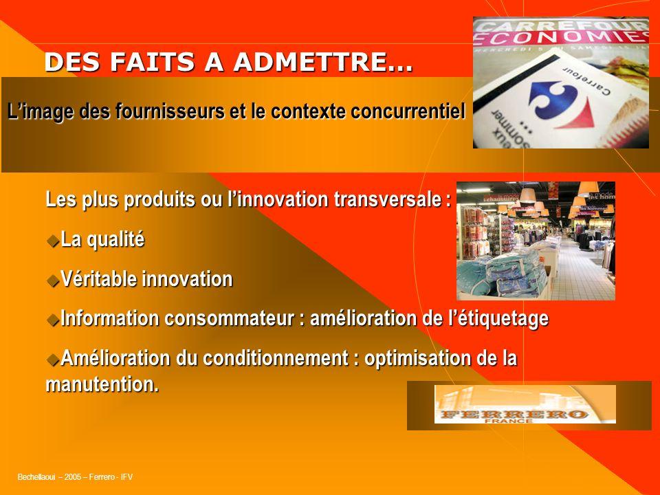 Bechellaoui – 2005 – Ferrero - IFV DES FAITS A ADMETTRE… DES FAITS A ADMETTRE… Ce quapprécient les distributeurs chez un fournisseur : Connaît le goût