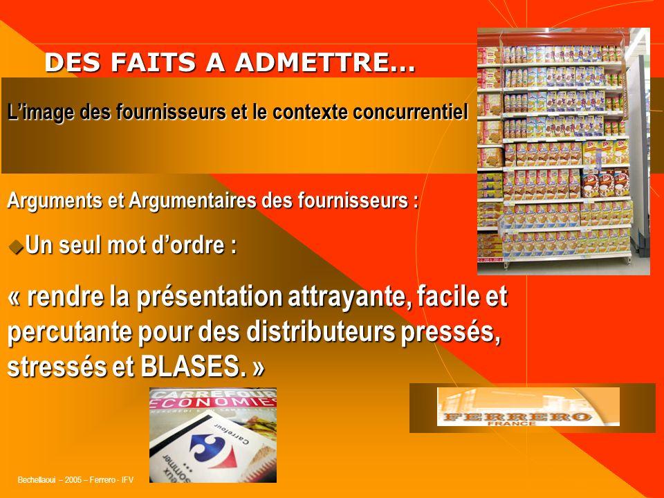 Bechellaoui – 2005 – Ferrero - IFV DES FAITS A ADMETTRE… DES FAITS A ADMETTRE… Arguments et Argumentaires des fournisseurs : Suivent la même logique e
