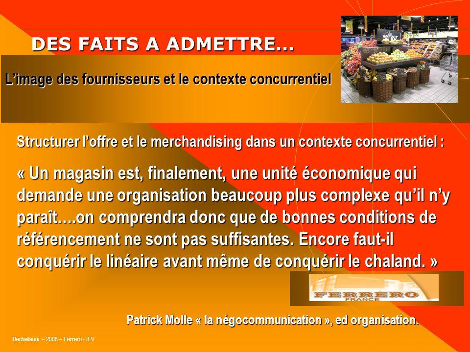 Bechellaoui – 2005 – Ferrero - IFV DES FAITS A ADMETTRE… DES FAITS A ADMETTRE… Limage des fournisseurs et le contexte concurrentiel Arguments et Argum