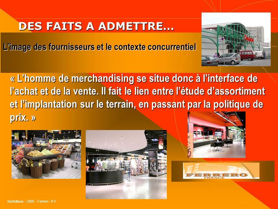 Bechellaoui – 2005 – Ferrero - IFV DES FAITS A ADMETTRE… DES FAITS A ADMETTRE… Limage des fournisseurs et le contexte concurrentiel Conséquence, une s