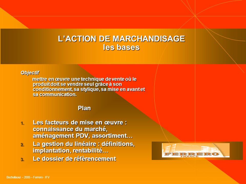 Bechellaoui – 2005 – Ferrero - IFV « Un merchandising efficace pousse à acheter de nouveau, renouvèle loffre pour maintenir en haleine le consommateur