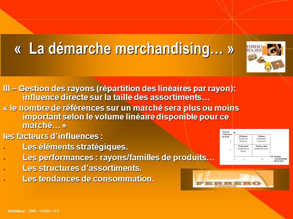 Bechellaoui – 2005 – Ferrero - IFV II – Lorganisation du PDV (design et architecture commerciale), dans le respect des fondamentaux du merchandising :