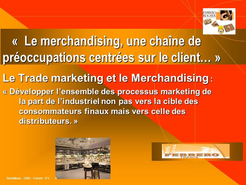Bechellaoui – 2005 – Ferrero - IFV 2 bases : « Le Sell in » : « Le Sell in » : Mesure des ventes effectuées par lindustriel auprès du distributeur. Me