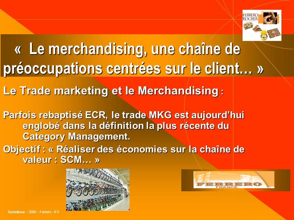 Bechellaoui – 2005 – Ferrero - IFV Le Trade Merchandising : « identification des meilleures options merchandising possibles, réalisée par le couple In