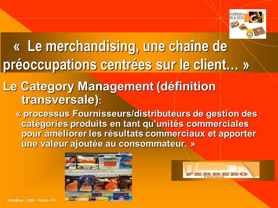 Bechellaoui – 2005 – Ferrero - IFV Le Category Management (problématique) : Organisation de loffre en GSA selon les règles du merchandising de gestion