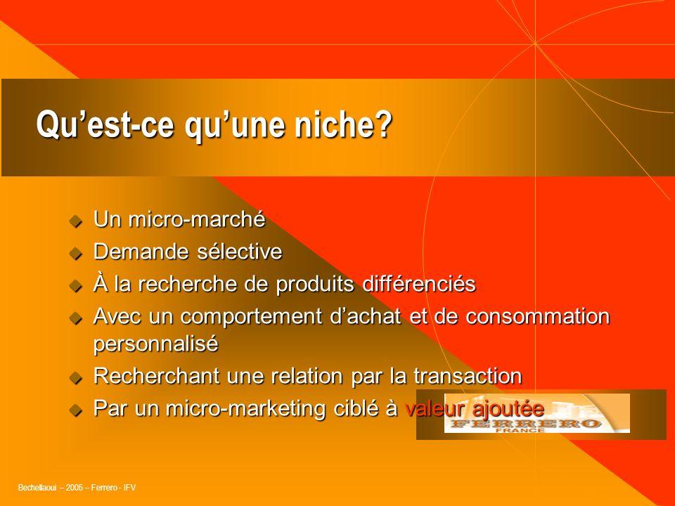 Bechellaoui – 2005 – Ferrero - IFV Les tendances créent les niches, mais… elles sont souvent vagues et éclectiques.