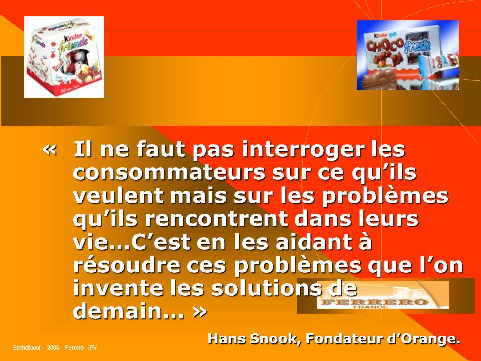Bechellaoui – 2005 – Ferrero - IFV Conclusion « Le marketing rend le choix non- interchangeable. » 1. Le caméléon a besoin dêtre guidé dans ses choix