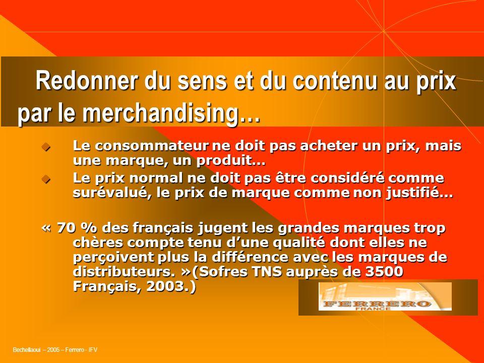 Bechellaoui – 2005 – Ferrero - IFV 1consommateur /3 : considère que le prix seul conditionne lachat. 1sur 2 achèterait prioritairement des pdts en pro