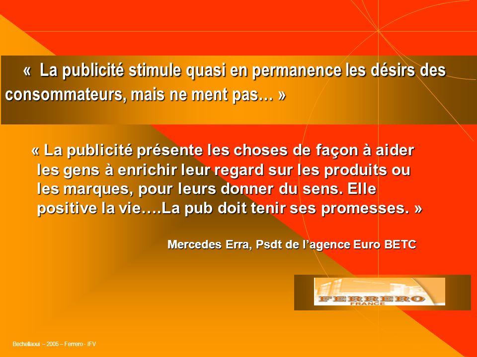 Bechellaoui – 2005 – Ferrero - IFV « La publicité cest du vent, mais du vent positif, qui laisse des traces dans les esprits. » « La publicité cest du